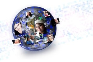 globe with people's faces