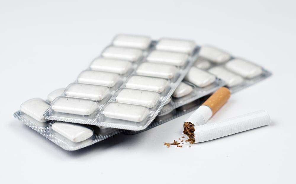 broken cigarette with nicotine gum