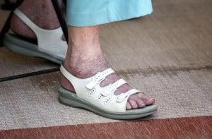 elderly woman's feet, walking