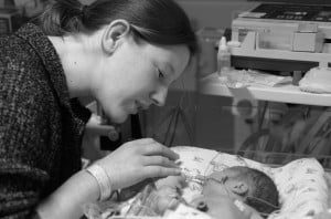mother with premature baby