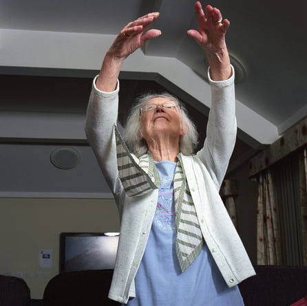 Elderly lady stretching