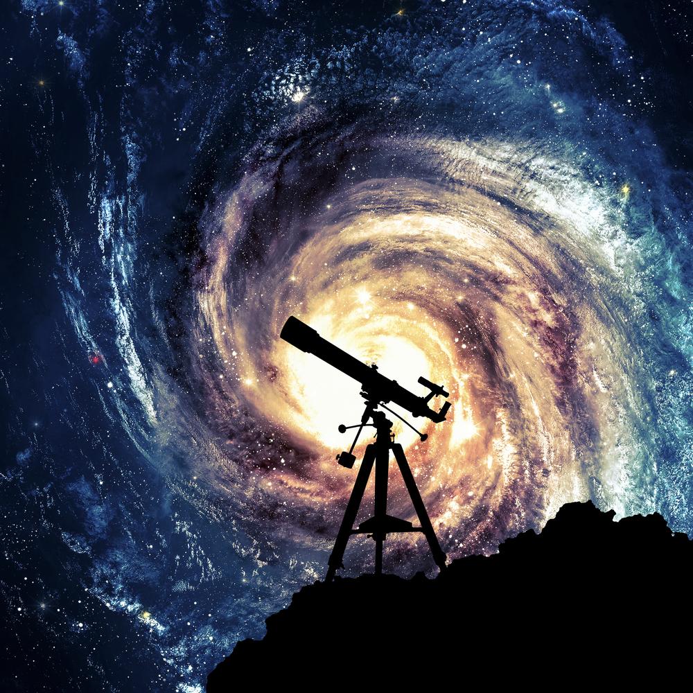 silhouette of astronomy telescope