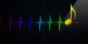 heart trace with musical note at the end