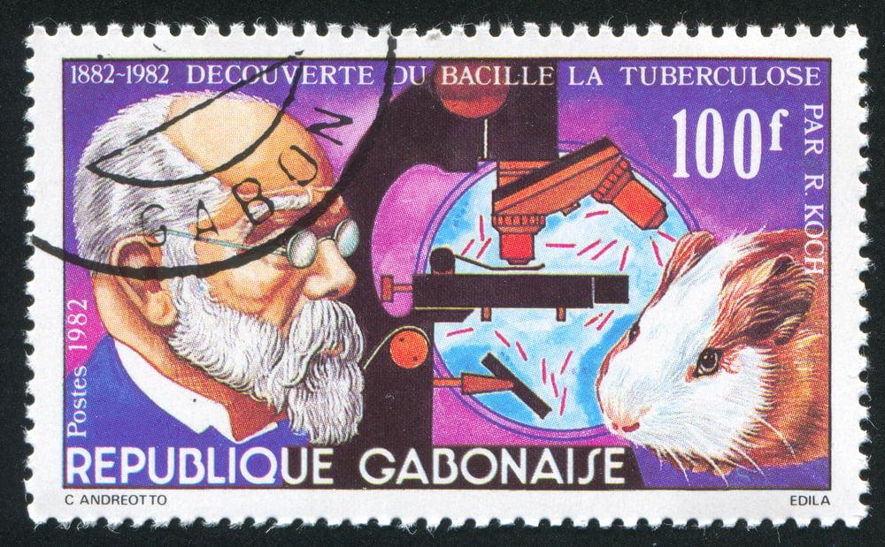 Postage stamp showing Robert Koch