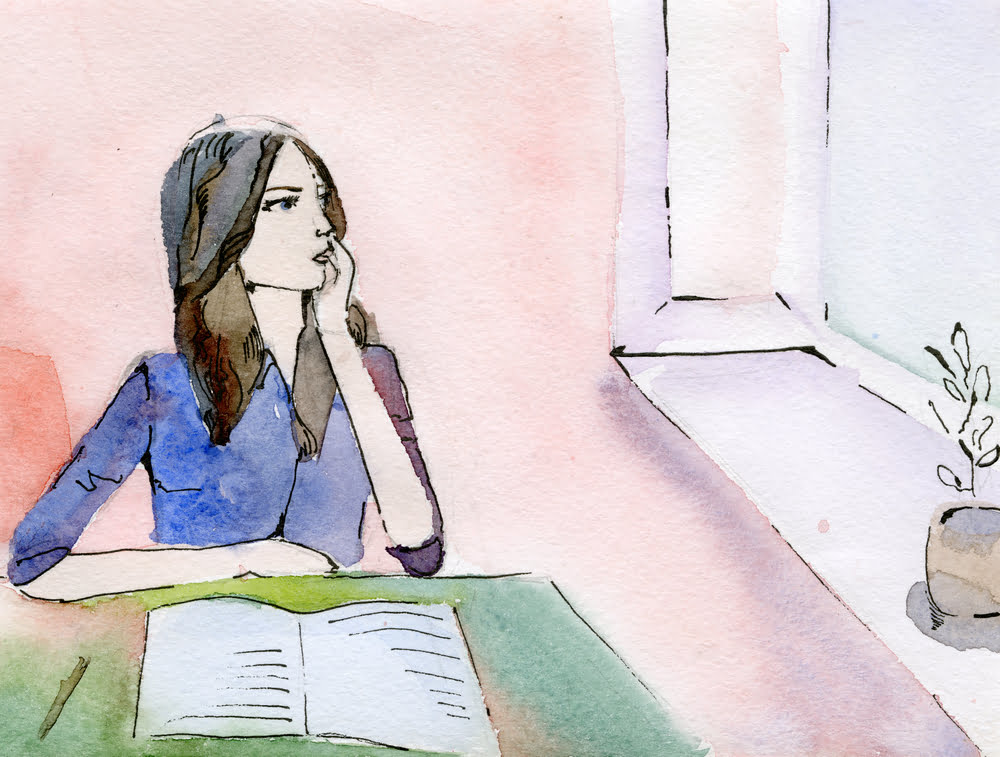 watercolour of girl looking up from her book