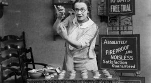 vintage woman demonstrating product