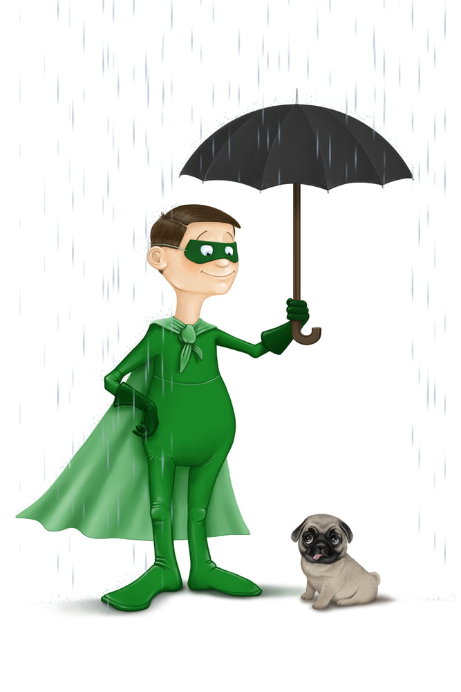 superhero shileds dog from rain