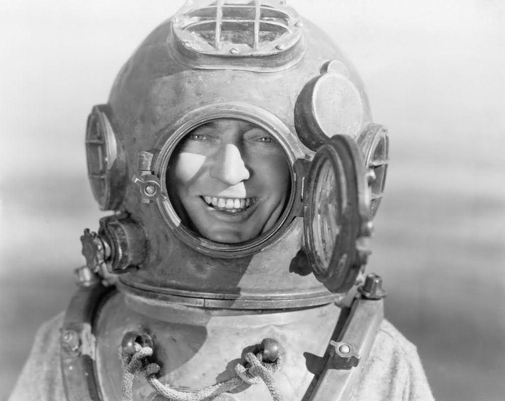 vintage man in diving suit