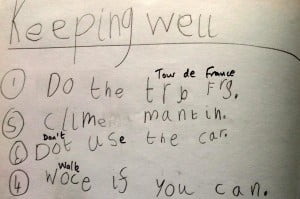 child's list for keeping well