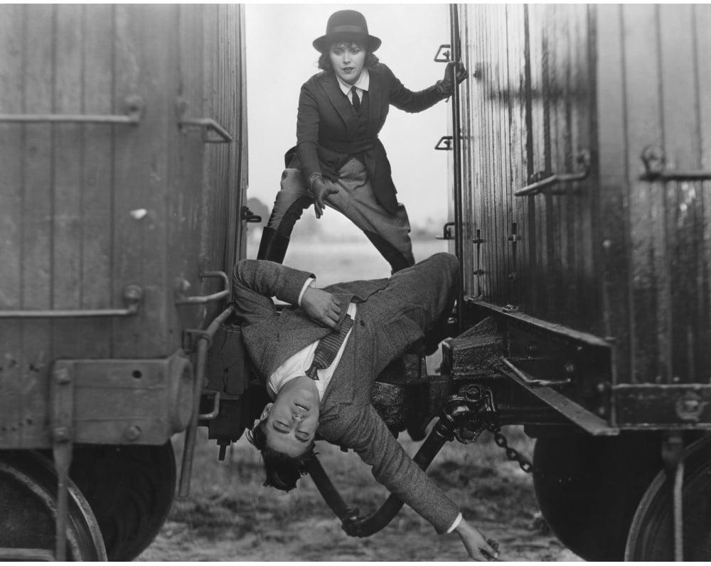 Women between train carriage