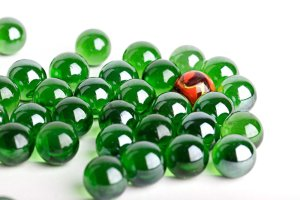 green marbles and one orange marble