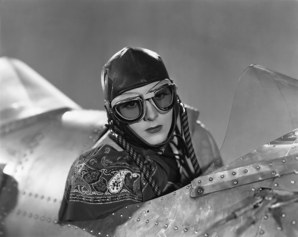 Woman flying a plane