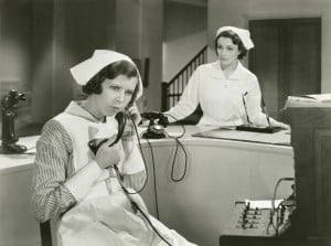 vintage nurse talking on the phone