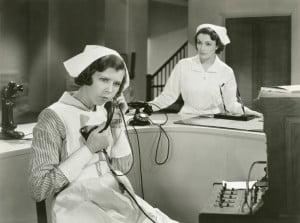 vintage nurse talking on the phone
