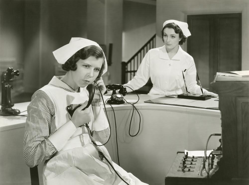 Vintage Nurse Talking On The Phone Evidently Cochrane