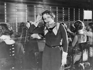 vintage weary telephone operator