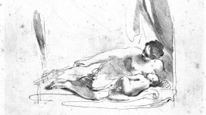 L0010814 A woman lying down breast-feeding her baby. Etching by F. Ba