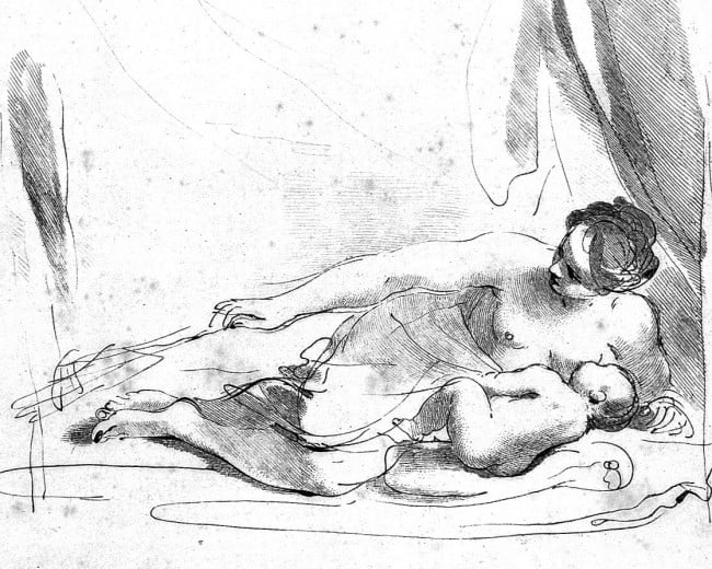 L0010814 A woman lying down breast-feeding her baby. Etching by F. Ba