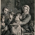 V0039253 A woman breastfeeds a baby and other children stand around h