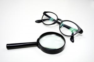 Magnifying Glass and Glasses isolated