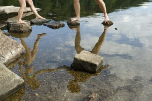 Standing on stepping stones