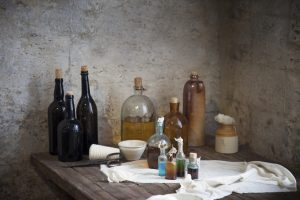 The old pharmacist's bottles