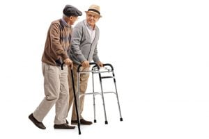 Mature man with walker and another man with cane