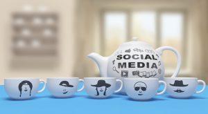 Social media cups teapot