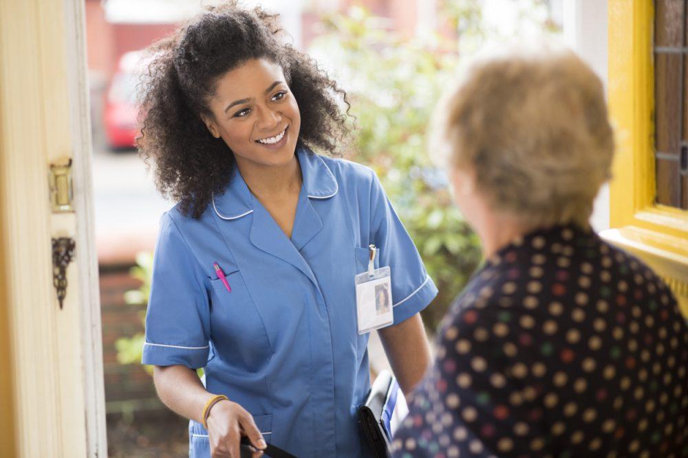 care nurse visit to senior