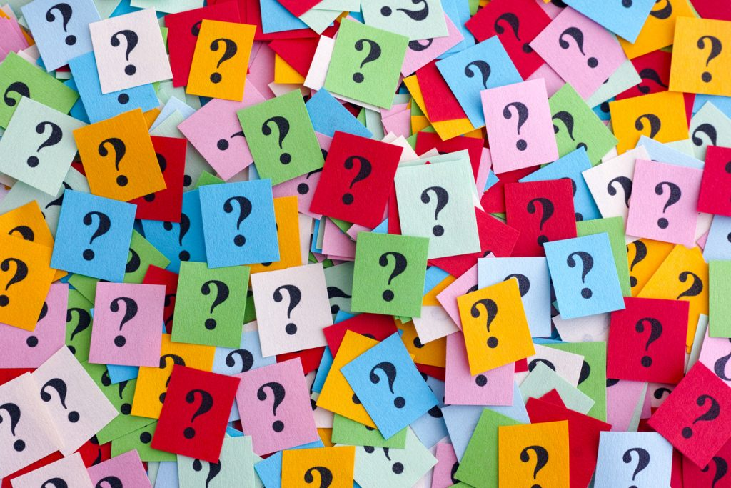 question marks on coloured squares
