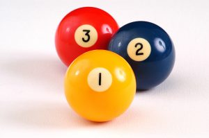 Isolated billiards balls numbered one two and three