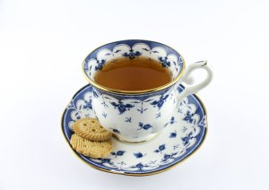 Cup of tea with biscuits
