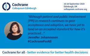 Jennifer Johannesen quote: although patient and public involvement (PPI in research continues to gain acceptance and adoption, we have to land on an accepted standard for how it's practiced.