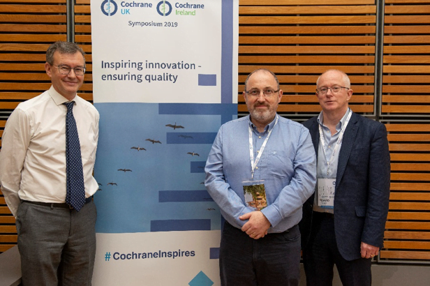 Martin Burton and Declan Devane with David Tovey, Editor-in-Chief of the Cochrane Library