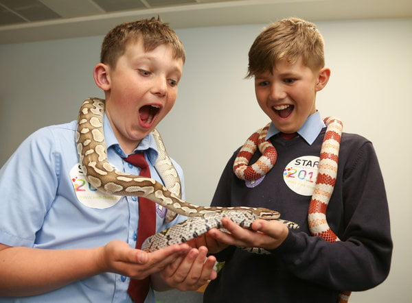 David and Leo from Ovens National School with python and milk snakes