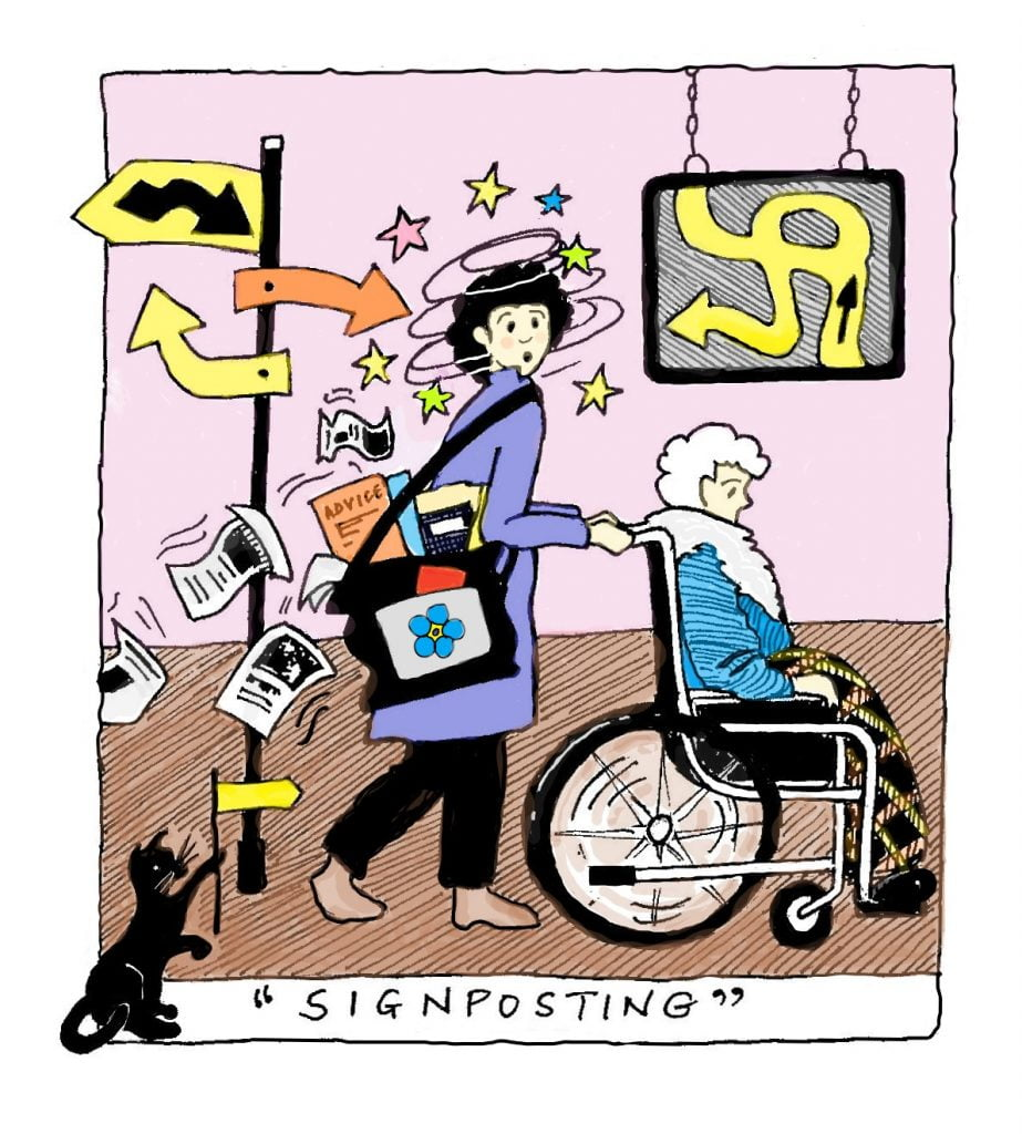 'Signposting' for carers leaves carers confused and bombarded by leaflets. [Cartoon by Karen Morley].