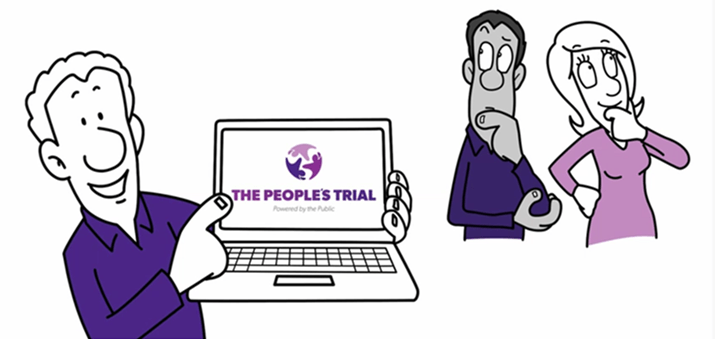 Cartoon of a man with laptop showing The People's Trial on the screen and two people looking on