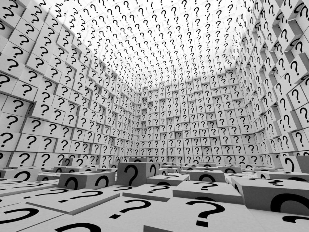 Questions (abstract illustration of question marks in boxes)