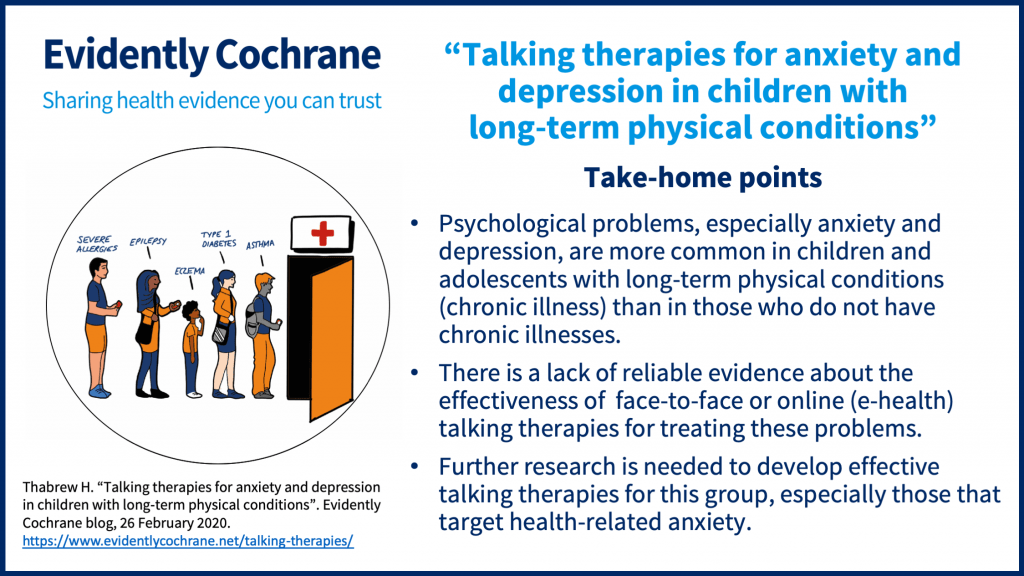 Take-home points: Psychological problems, especially anxiety and depression, are more common in children and adolescents with long-term physical conditions (chronic illness) than in those who do not have chronic illnesses. There is a lack of reliable evidence about the effectiveness of  face-to-face or online (e-health) talking therapies for treating these problems. Further research is needed to develop effective talking therapies for this group, especially those that target health-related anxiety.