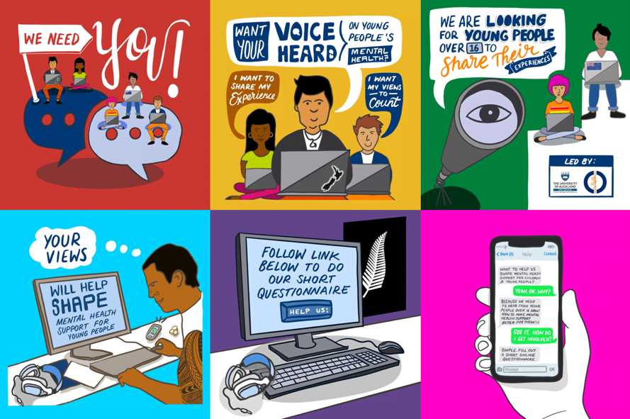 Example of graphic used as adverts to recruit young people to complete surveys