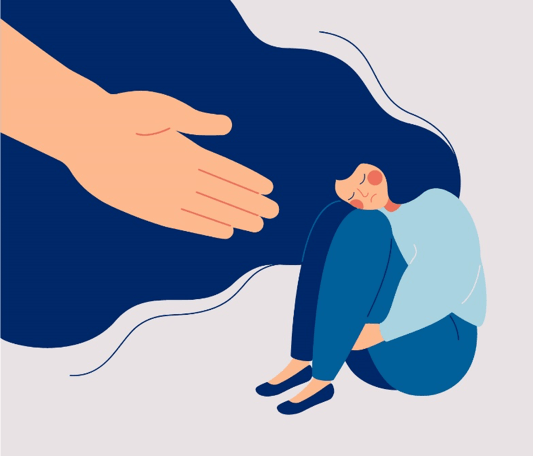 Cartoon of a sad-looking woman, being reached out to by a giant hand