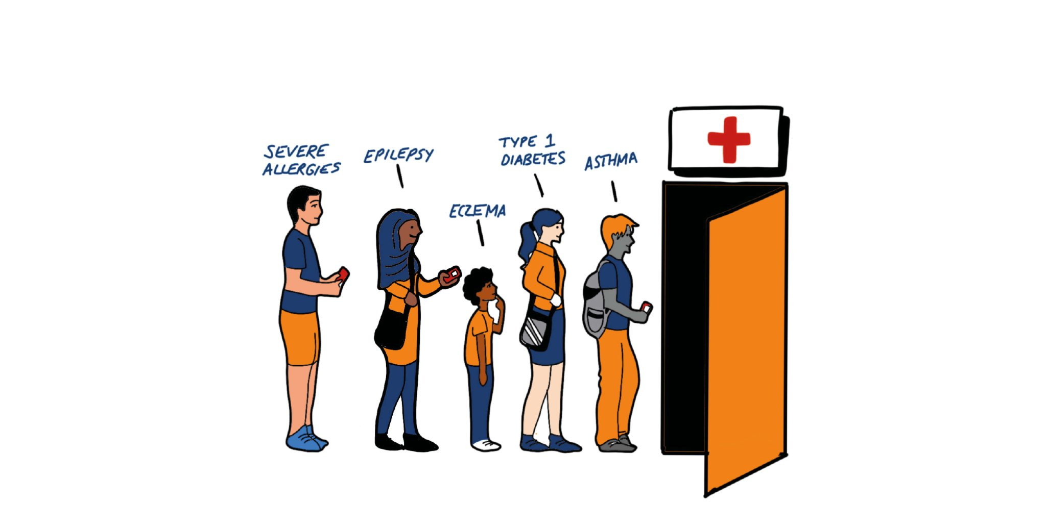 cartoon of a queue young people walking into a medical room, with various health problems