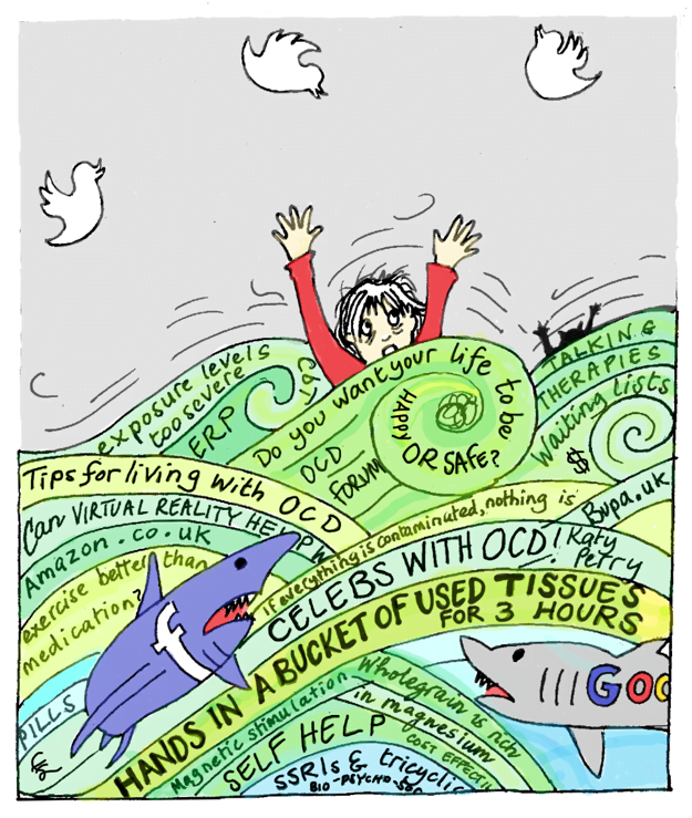 Cartoon illustration of a woman drowning in a sea of waves. The waves have writing on e.g. 'tips for living with OCD', 'self-help' to denote drowning in a load of information