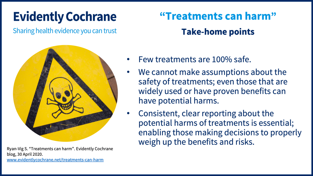 Take-home points: Few treatments are 100% safe. We cannot make assumptions about the safety of treatments; even those that are widely used or have proven benefits can have potential harms. Consistent, clear reporting about the potential harms of treatments is essential; enabling those making decisions to properly weigh up the benefits and risks.
