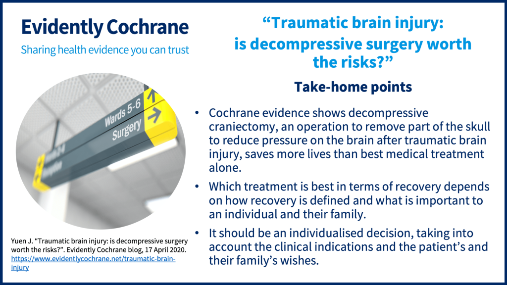 Take-home points: Cochrane evidence shows decompressive craniectomy, an operation to remove part of the skull to reduce pressure on the brain after traumatic brain injury, saves more lives than best medical treatment alone.Which treatment is best in terms of recovery depends on how recovery is defined and what is important to an individual and their family.It should be an individualised decision, taking into account the clinical indications and the patient's and their family's wishes.
