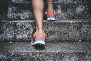 Runner ascending steps