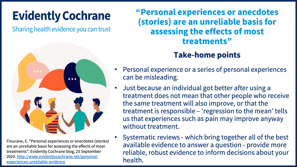 Personal experience or a series of personal experiences can be misleading. Just because an individual got better after using a treatment does not mean that other people who receive the same treatment will also improve, or that the treatment is responsible – 'regression to the mean' tells us that experiences such as pain may improve anyway without treatment. Systematic reviews - which bring together all of the best available evidence to answer a question - provide more reliable, robust evidence to inform decisions about your health.