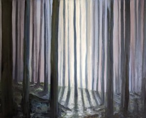 A painting of a darkened forest, with a chink of light shining through