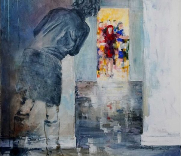 Artwork of a woman looking through a door to a crowd of people
