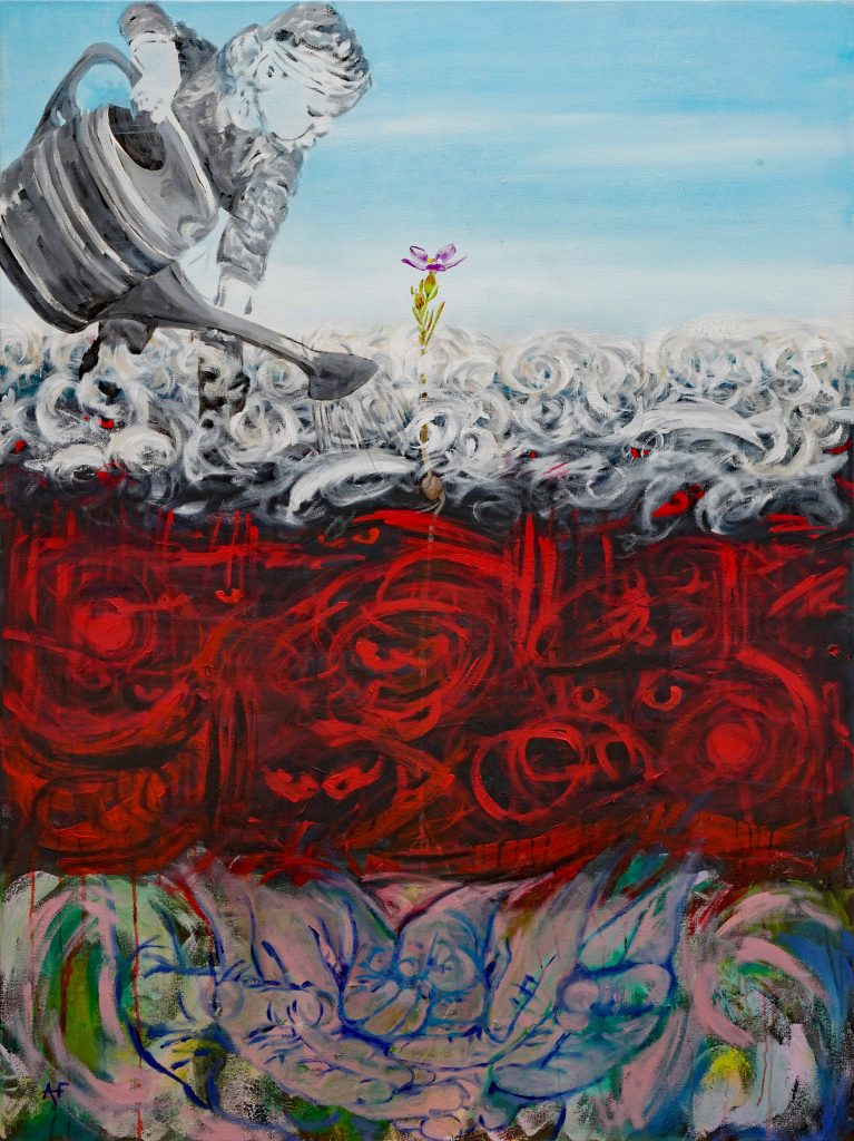 Sally chose this artwork, of a person watering a garden of flowers, as reflective of her experience of post-traumatic stress